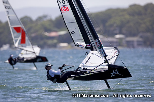 Charlie McKee sailing the wing-masted Moth at the Worlds